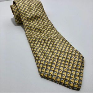 100% silk Hermès neck tie with dolphins